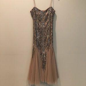 Gianni Bini Champagne Beaded Tulle Midi Dress